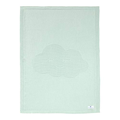 Manta para bebé con nubes verde verde menta