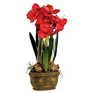Triple Amaryllis 25″ High Faux Flowers in Oval Pot-Floral tributes-Home Decor-Wedding Decor-Artificial Plants & Flowers-Faux Flowers-Artificial Plant-Bridal Bouquets for Wedding-Artificial Greenery