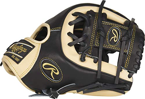Rawlings Heart of the Hide Baseball Glove, Black/Camel, 11.25 inch, Pro I Web, Right Hand Throw