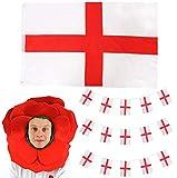 I LOVE FANCY DRESS LTD Ensemble de costume de rugby d'Angleterre - Drapeau anglais, fanions et chapeau de rose anglais - Ensemble de drapeaux de St Georges