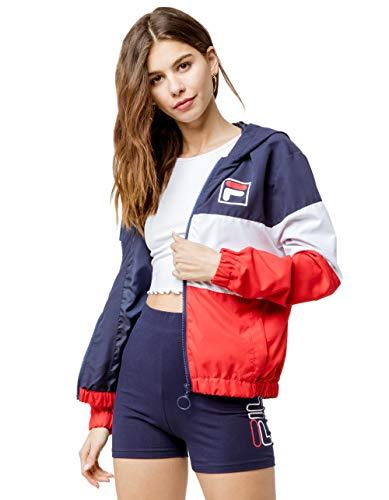 Fila Luella Women's Lightweight Colorblocked Woven Wind Jacket Navy Size XS