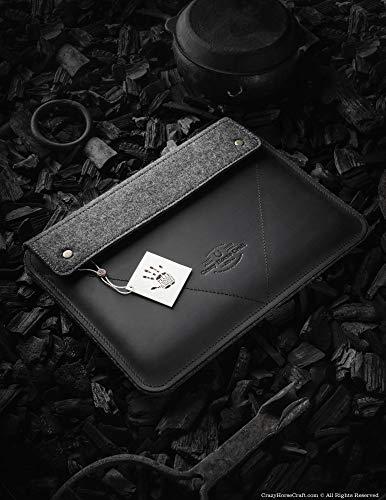 MacBook Pro 13/15 / 16 Zoll Etui/Hülle   Carbon Black, 100% Wollfilz, 2020 MacBook Air 13 Zoll Gehäuse, handgefertigt, einzigartig, Vintage echte Crazy Horse Leder-Laptoptasche, Crazy Horse Craft