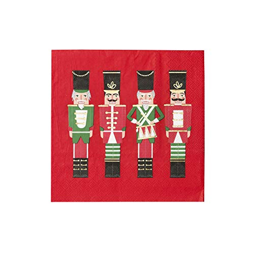Talking Tables Christmas Decorations Paper Napkins Nutcracker Soldier 16 Pack, Red Xmas Dinner Lunch Party