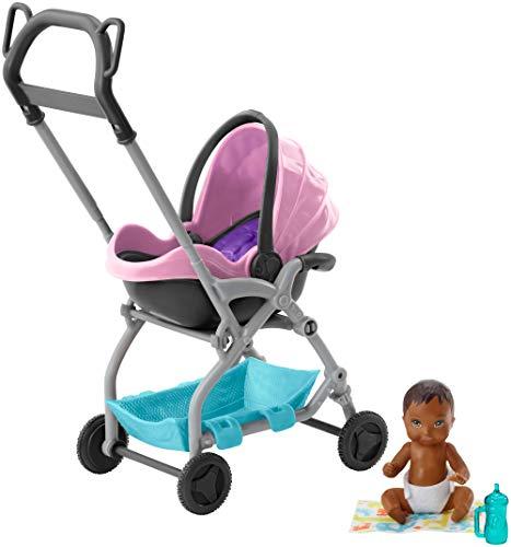 Barbie FXG95 - Skipper Babysitters Inc. Puppe und Spielset, kleine Baby-Puppe mit 2-in-1 Buggy