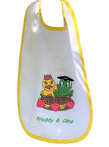 Freds Swim Academy 20311 Bavoir en velours doux Motif Fred & Gina Env. 27 x 44 cm, blanc