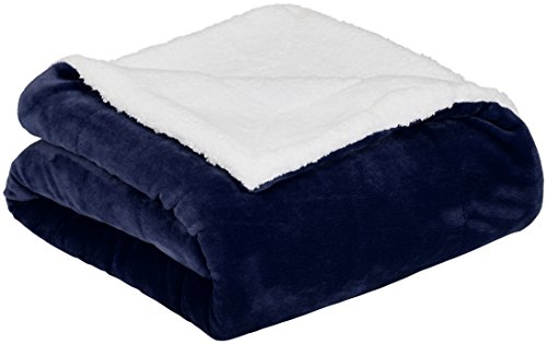 AmazonBasics Soft Micromink Sherpa Blanket - Throw, Navy Blue