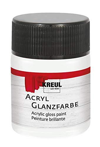 Kreul 79501 - Acryl Glanzfarbe, 50 ml Glas in weiß, glänzend-glatte Acrylfarbe zum Anmalen und Basteln, auf Wasserbasis, speichelecht, schnelltrocknend und deckend