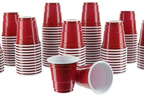 PARTY BARGAINS 2oz Plastic Shot Glasses - (120 Pack) Mini Red Disposable Plastic Shot Cups, Jello Shots, Perfect Size for Serving Condiments, Snacks, Samples and Tastings