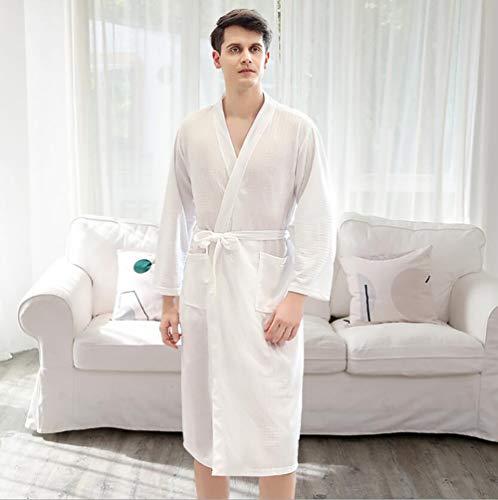 SHANGLY Pareja Kimono Albornoz Ropa de Dormir Ligero Cómodo Tejer Toga Larga Loungewear con Bolsillo,H,M