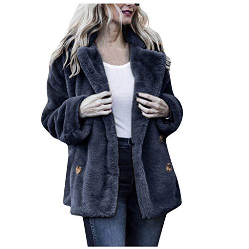 Xmiral Mantel Damen Plüsch Flaumig Einfarbig Umlegekragen Strickjacken Jacke mit Tasche Slim Fit Winterjacke Damenmantel(Blau,S)
