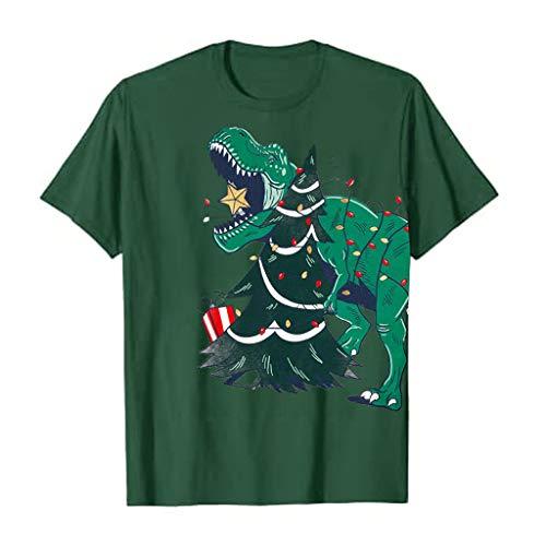 Meikosks Christmas Funny Print Tops Womens Dinosaur T Shirt Short Sleeve Casual Blouses Green