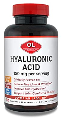 Olympian Labs Hyaluronic Acid 150mg | 100 Capsules | Support Healthy Connective Tissue and Joints - Promote Youthful Healthy Skin
