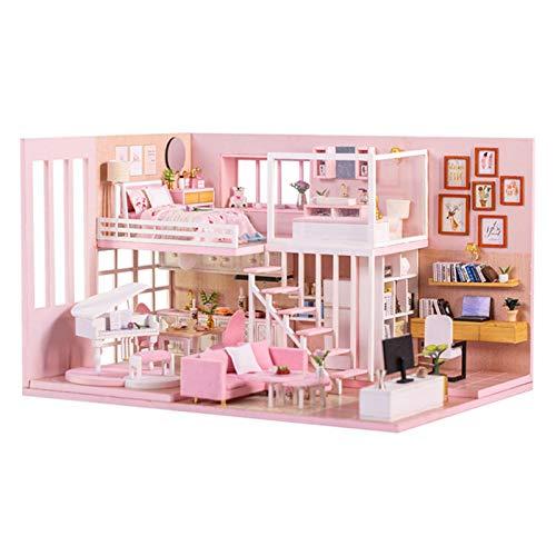 Casa De Juguete De Bricolaje Ático Ensamblado En 3D DIY Dollhouse Kit Romántico Ensamblado Casa Un Regalo Ideal De Cumpleaños Y San Valentín para Su Amante, Familia, Hijos, Amigos.