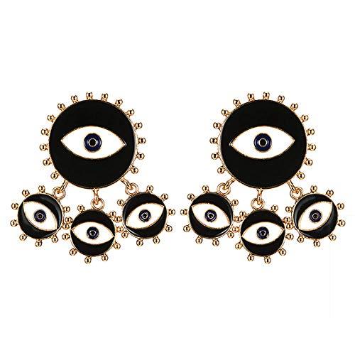 Goldfarbene Ohrringe mit bösen Augen, modische einzigartige Emaille, abstrakte Augen, rote Tropfen, baumelnder Ohrring für Frauen und Mädchen, übertriebener Schmuck