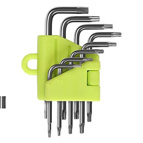 LIHAO 8x Innensechskantschlüssel Set Torx Schlüssel Winkelschlüsseln, Sternförmig TX-Schlüssel mit Klapphalter