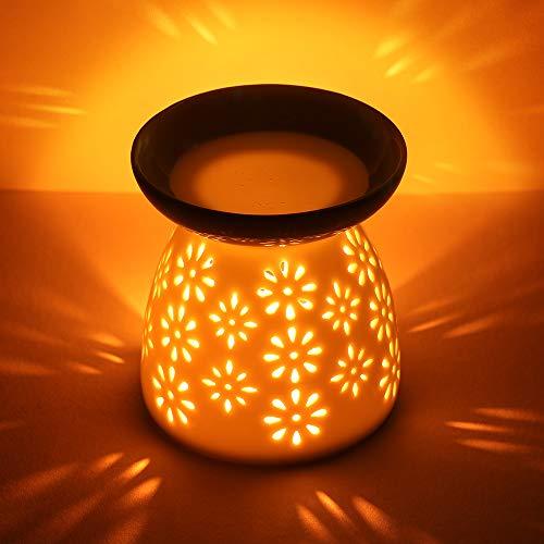 cmxing Duftlampe mit kerzenhalter Duftlampe aus Keramik Aromalampe Weiß (Blume)