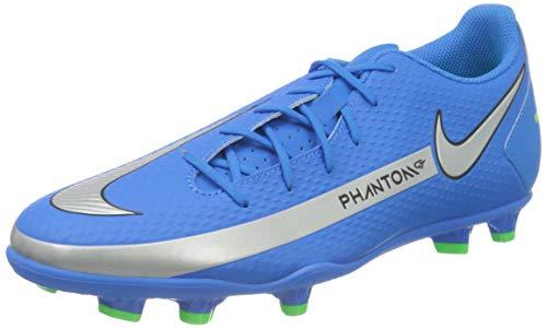 Nike Phantom GT Club FG/MG, Football Shoe Hombre, Photo Blue/Metallic Silver-Rage Green-Black, 43 EU