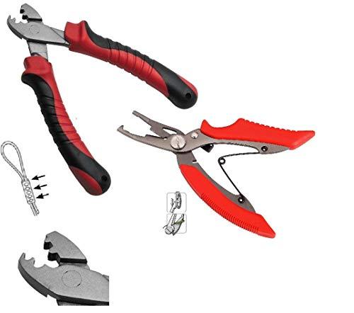 Set: Klemmhülsenzange Crimping Pliers & Angelschere für geflochtene Schnur Sprengring Schere Zange + gratis Petri Heil! Aufkleber