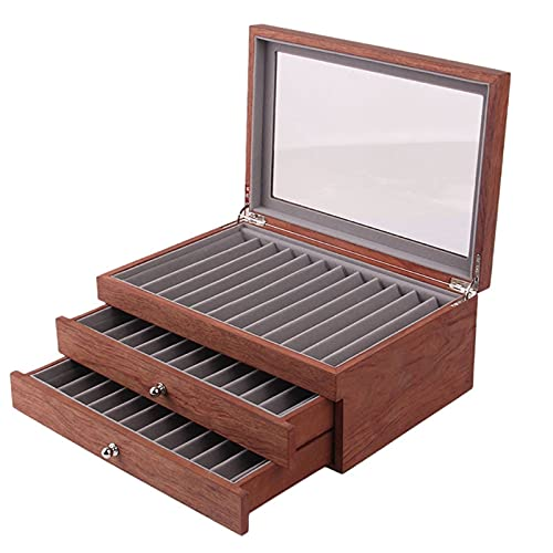 LEEleegang Caja de exhibición de Pluma de Madera Vintage Caja de coleccionista de Pluma estilográfica de 34 Ranuras de...