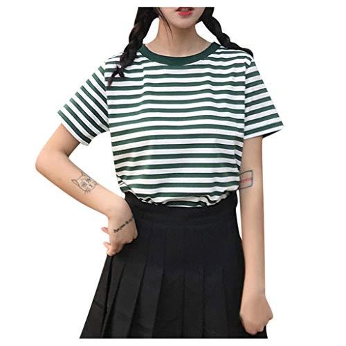 Lefthigh Women's Short Sleeve Striped T-Shirt Fresh O-Neck Student Tops Sports Blouse Summer Clothes