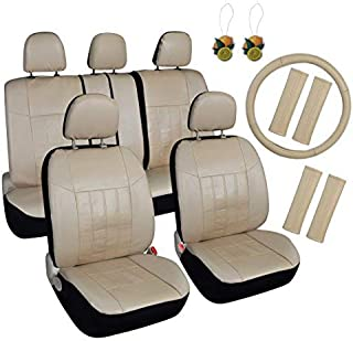 Leader Accessories Auto Car Seat Covers 17pcs Combo Pack Beige Front + Split Rear + Headrest Cover, Airbag Compatible, Sea...