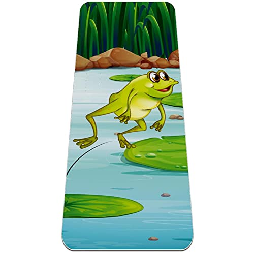 Esterilla Yoga Mat Antideslizante Profesional - Frog Lotus Pond - Colchoneta Gruesa para Deportes - Gimnasia Pilates Fitness - Ecológica