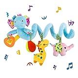 VX-star Baby Pram Crib Ornament Hangings Blue Cute Little Elephant Shape Design Spiral Plush Toys Stroller and Travel Activity Toy