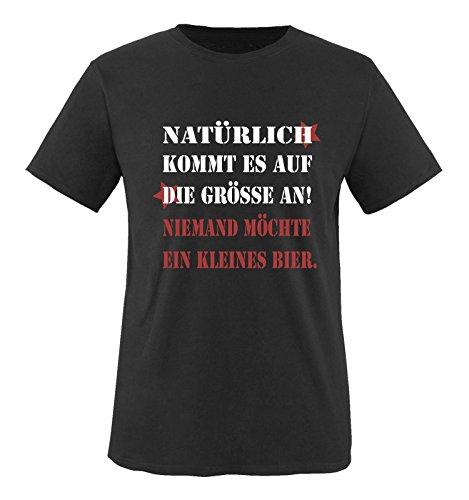 Comedy Shirts - Natürlich kommt es auf die Grösse an! Niemand möchte EIN kleines Bier. - Herren T-Shirt - Schwarz/Weiss-Rot Gr. M