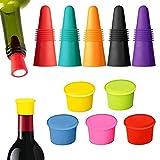 Osuter 5PCS Flaschenverschlüsse and 5PCS Weinverschluss Silikon Weich Wiederverwendbare Weinflasche Caps für Wein Bier Getränkeflasche