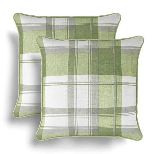 IT IDEAL TEXTILES Set of 2 Green Tartan Cushion Covers, Pair of Checked Design Cotton Cushion Covers, Piped Trim Cushion Cases, Sofa Chair Throw Pillow Cases, 17' x 17', 43cm x 43cm