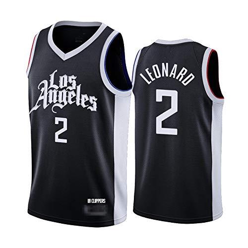 Camisetas De Hombre, NBA Los Angeles Clippers # 2 Kawhi Leonard - Classic Basketball Sportswear Sin Mangas Sport Camisetas Y Cómodos Tops Chalecos,Negro,XXL(185~195CM)