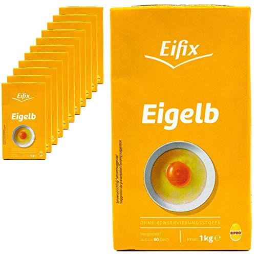 Eifix - 12er Pack Eigelb flüssig hergestellt aus ca. 60 Eiern 1 kg Packung - Eipro flüssiges Eigelb ohne Konservierungsstoffe (pasteurisiert)