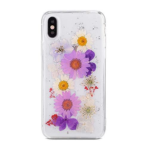Bakicey iPhone 8 Plus hoesje, iPhone 6s Plus telefoonhoes Gedroogde bloemen kristal gel beschermhoes handgemaakt permanente bloem bumper case cover schaal beschermhoes voor iPhone 6/6s/7/8 iPhone 7/iPhone 8 (4,7 '') D paars wit