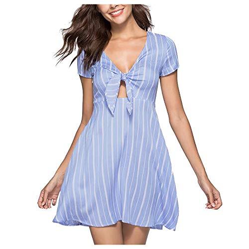 Contrôleur solaire Mesdames manches courtes été de mode V-cou rayé sexy robe courte accessoires solaires (Color : Blue, Size : M)