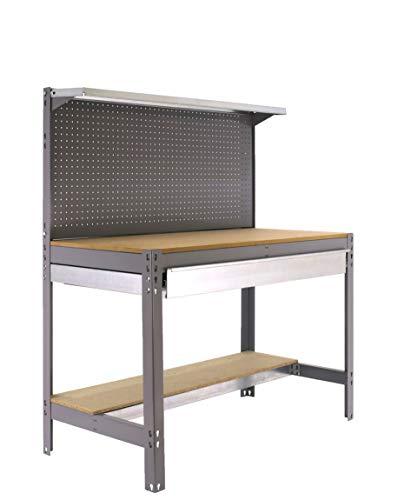 Banco de trabajo BT3 con cajón Simonwork Gris/Madera Simonrack 1445x910x610 mms - Mesa de trabajo - Banco para taller 400 Kgs de capacidad por estante