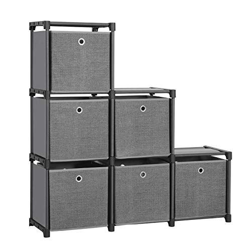 SONGMICS Ladder Storage Unit, 6 Cubes with 6 Storage Boxes, DIY Closet Organiser, Multifunctional with Modular Design, Sturdy Metal Frame, Includes Rubber Mallet, 105 x 30 x 105 cm, Black LSN66BK