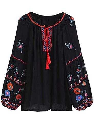 Doballa Damen Blumenstickerei Quaste Vordere Lange Laterne Ärmel Fließende Bluse Shirt Oberteil (M, Schwarz)