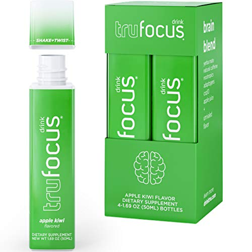 Tru Focus Shots, Natural Focus Energy Shot with Nootropics and Adaptogenic Herbs, Brain Blend, 1.69 Fl Oz (Pack of 4)