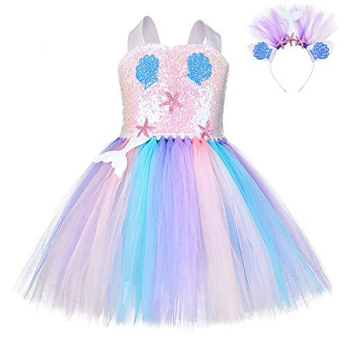 FONLAM Prinzessin Meerjungfrau Kleid für Mädchen Tutu Kleid Geburtstage Party Karneval Mädchen (7-8 Jahre, Pailletten)