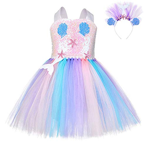 FONLAM Vestido Disfraz de Sirena Niña Bebé Vestido Tutú Princesa Bautizo Fiesta Niña Carnaval Halloween (Lentejuelas, 11-12 Años)