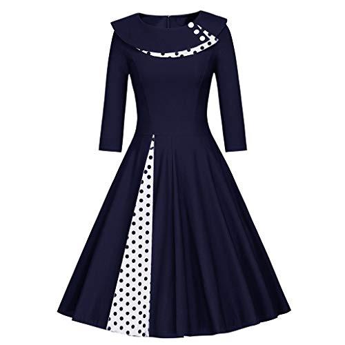 GreatestPAK Mode Damen Langarm Vintage Kleid Rundhalsausschnitt Retro Punktdruck Patchwork Hepburn-Stil Lange Ärmel Polka Dot Nähte großer Poncho-Rock,Marine,S