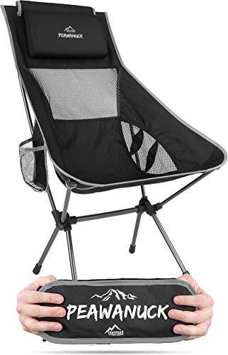 Ultraleichter klappbarer Campingstuhl mit Langer Rückenlehne und Kissen Outdoorstuhl Strandstuhl Reisestuhl Anglerstuhl - nur 995g! Traglast 150kg (330 lbs) Farbe Grau