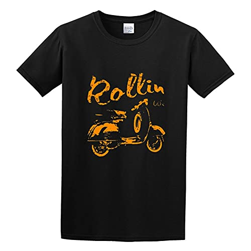 Vintage Scooter Rollin 60`S T-Shirt Graphic Top Printed tee Shirt For Men Black 3XL