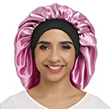 Large Silky Bonnet Satin Sleep Cap Wide Elastic Band for Women Curly Natural Long Hair (Pure Orchid)