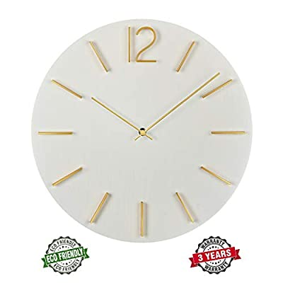 """MOTINI 15.6"""" Round Wall Clock, Easy to Read Battery Operated Decorative Clock for Kitchen, Living Room, Office, School"""