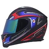 Dgtyui Nuovo casco da motociclista Design alla moda Casco integrale da corsa Capacete Casco Moto Conveniente fibbia rapida Cambio multistadio Lente aperta - e3 X XL