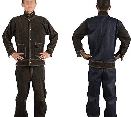 COUYY De Cuero de Vaca Denim Costura de Soldador Ropa, Anti-escaldado y Traje de la Ropa de protección de Aislamiento térmico, así como Conjuntos de Soldador,Marrón,XL