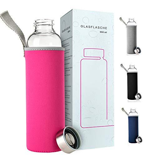 PaWa Glasflasche 550ml Pink - BPA Freie Trinkflasche aus Glas - Auslaufsichere Sportflasche für unterwegs - Glas Wasserflasche für Kinder und Erwachsene - Glastrinkflasche mit Gratis Ersatzdichtung