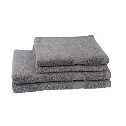 JULES CLARYSSE Set van 2 handdoeken + 2 badlakens Elegance - grijs