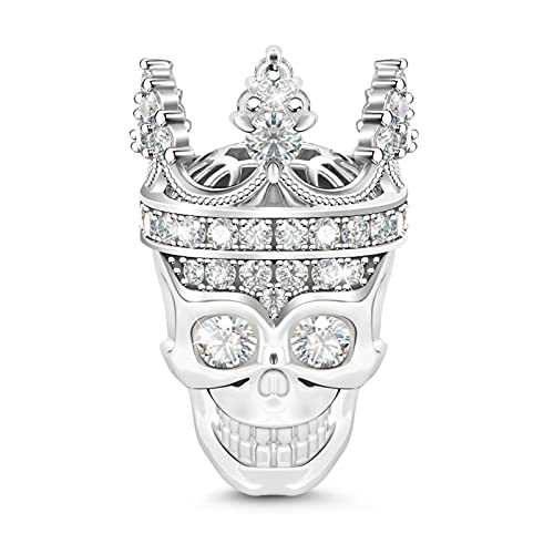 GNOCE'Love for My Queen' Delicate Crystal Skull Queen Bead Charm 925 Sterling Silver Skull Charm Beads Fit Bracelet/Necklace for Women Girls Wife Daughter - Skull Crown